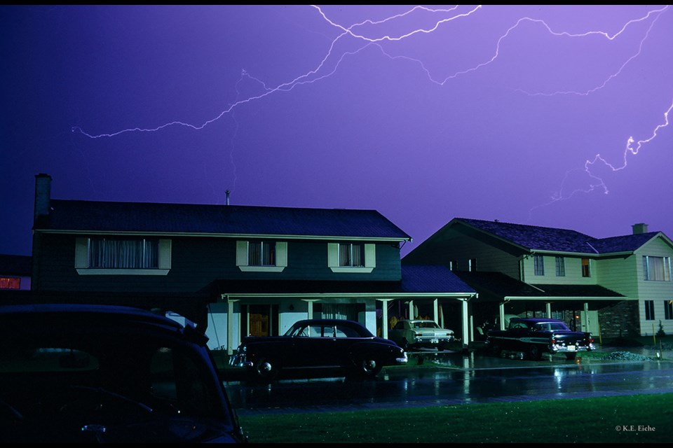 Lightning during a storm in May 1968, looking west. Photo: © K.E. Eiche