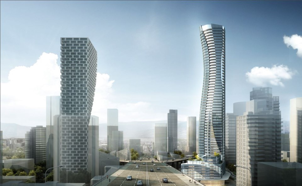 The Granville Gateway tower (right) is proposed for 601 Beach Cres., which is opposite from where Va