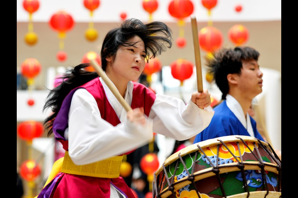 A Cheondoong drumming performance was part of the Lunar New Year festivities.