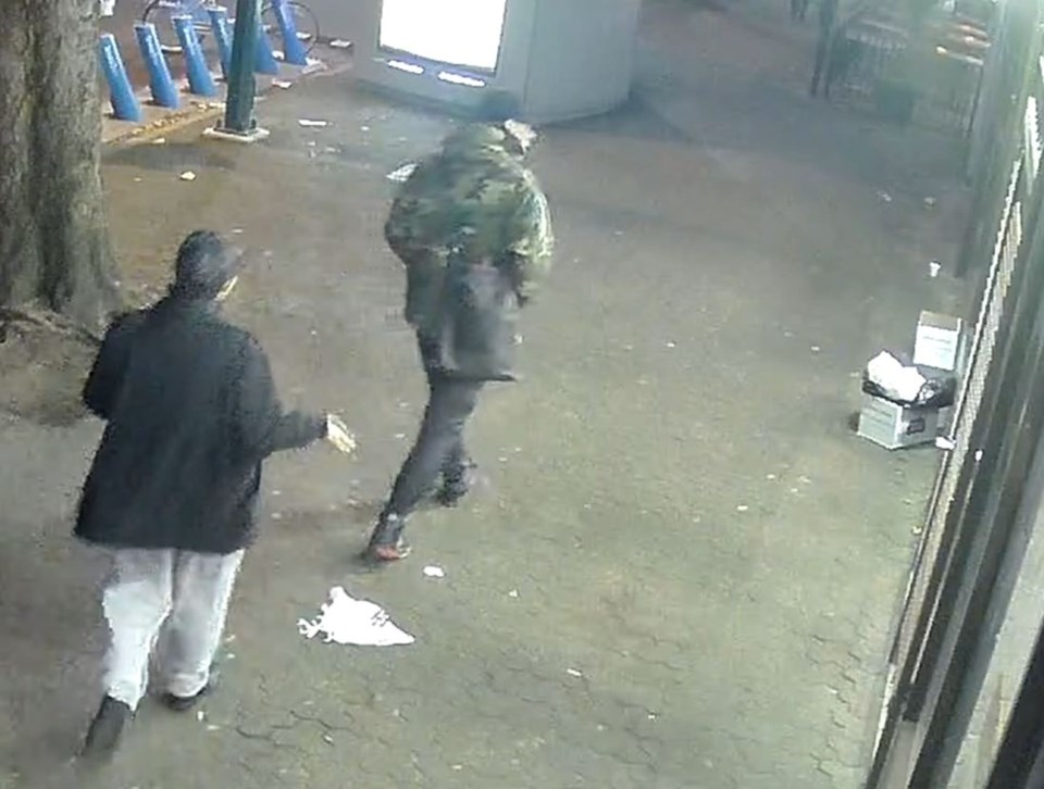 Vancouver police want to speak with the two men seen in this screengrab in the hopes they can provid
