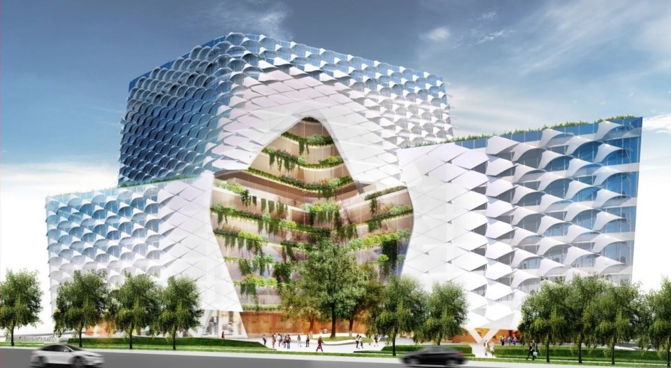 """The design for Lululemon's new head office includes carved out sections and a """"brise soleil"""" shading"""
