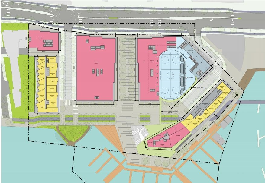 An ice rink is included in the development. It will serve as a practice rink for the Vancouver Canuc