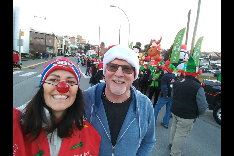 Tara Holmes leading the way in the Santa Claus Parade in downtown Kamloops.