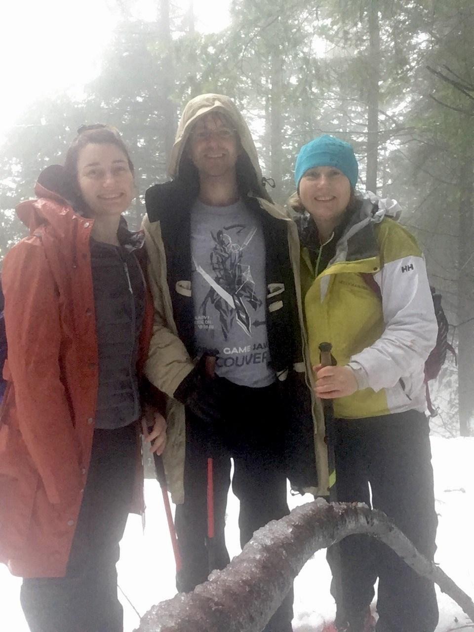 Jennifer Pierce, Glen Pierce and Olena Domnia on a recent Bowen Island Hikers group excursion.