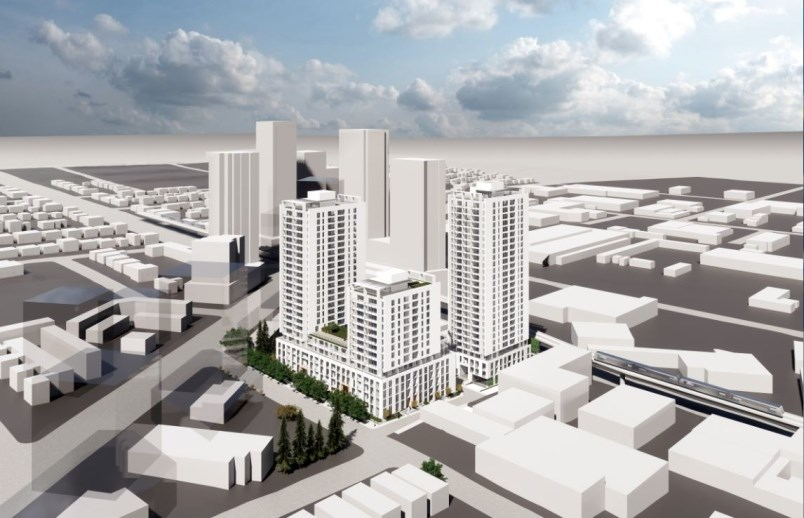 The rezoning proposal envisions a 14-storey non-market building, as well as 24- and 27-storey market rental buildings. Rendering courtesy of Intracorp Homes