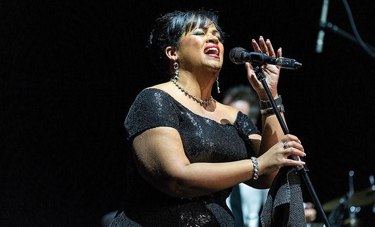 Maureen Washington performs on stage at Prince George Playhouse on Saturday night.