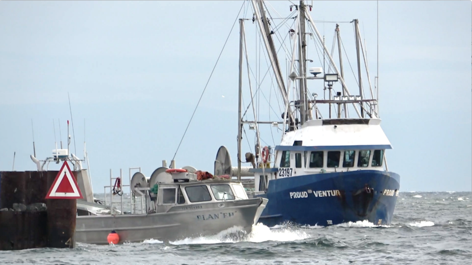 Two herring fish boats entering French Creek harbour on Vancouver Island