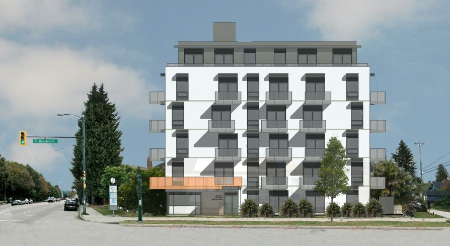 The six-storey building is proposed for the corner of Balaclava and West Fourth Avenue. Rendering Ek