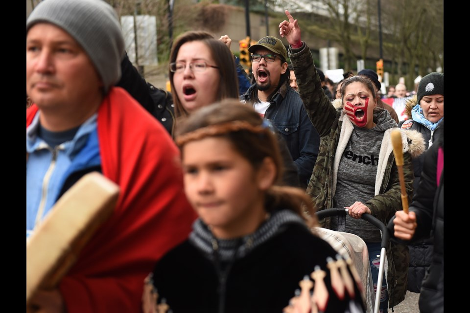 Protesters in solidarity with the Wet'suwet'en gathered downtown for another day of action. Photo Dan Toulgoet