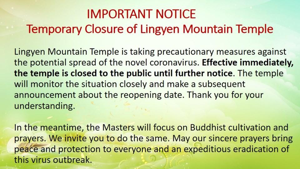 Lingyen Mountain Temple coronavirus notice