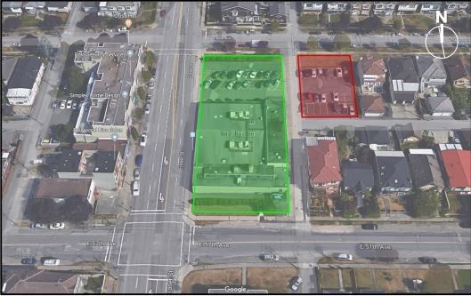 The site at 7280 Fraser St. outlined in green, next to the property at 724 East 56th Avenue outlined