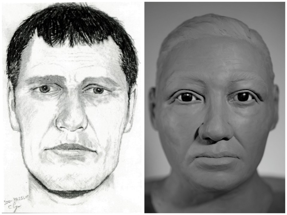 Unidentified Port Coquitlam cold case seen in a sketch and the updates, 3D-rendered likeness