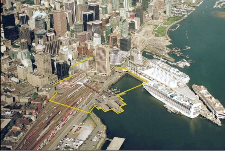 Yellow outlines the area addressed in the Central Waterfront Hub Framework.