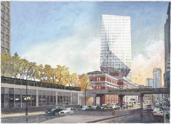 A sketch of the proposed 26-storey office building.