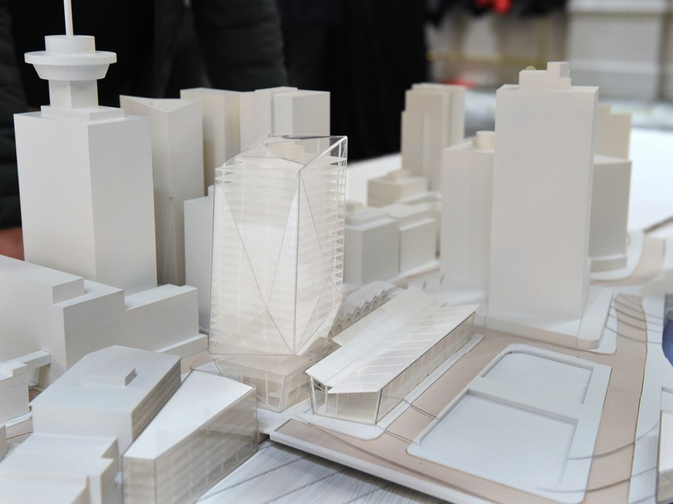 A model of the propose tower shown at the recent open house. Photo Dan Toulgoet