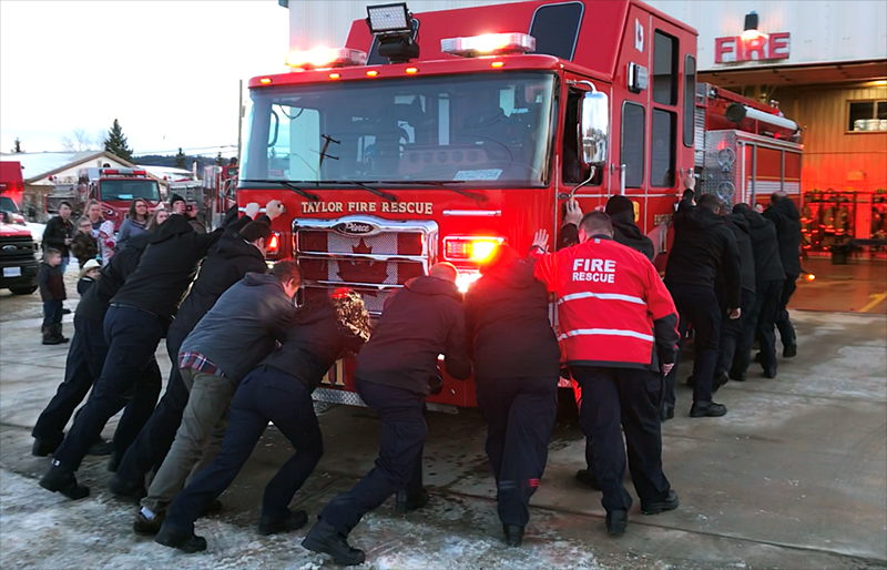 Taylor firefighters held a traditional push-in ceremony to mark the arrival of the new Engine 11 fire truck, Feb. 21, 2020.
