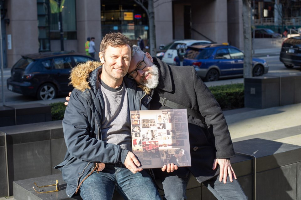 Grant Lawrence with his musical colleague Rob Nesbitt and his newly released opus, Mine Would Be The