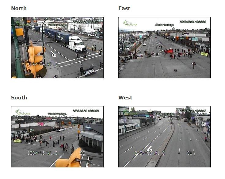 Camera views of the intersection of Clark and Hastings where protesters have blocked traffic. Scree