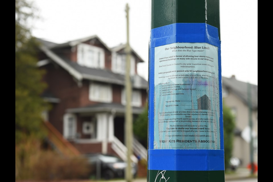 West Kitsilano Residents Association has dotted the neighbourhood with signs about the city's rental development measures. Photo Dan Toulgoet