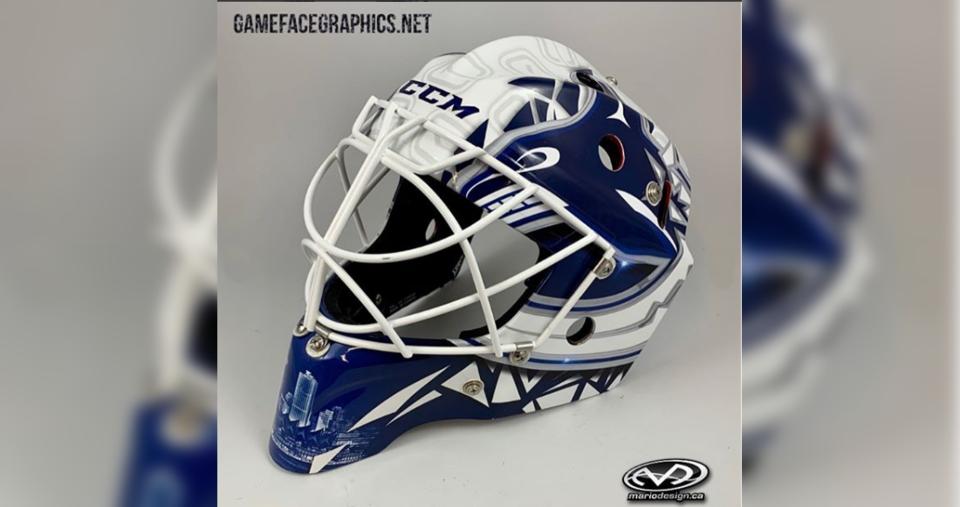 Louis Domingue's new Vancouver Canucks goalie mask