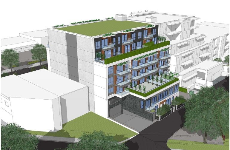 View from lane looking southeast. Rendering Stuart Howard Architects