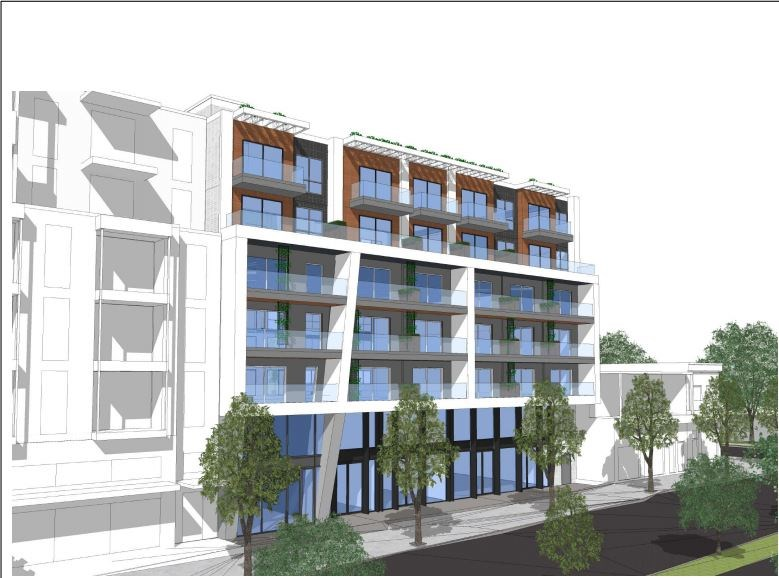 View from Kingsway looking northwest. Rendering Stuart Howard Architects