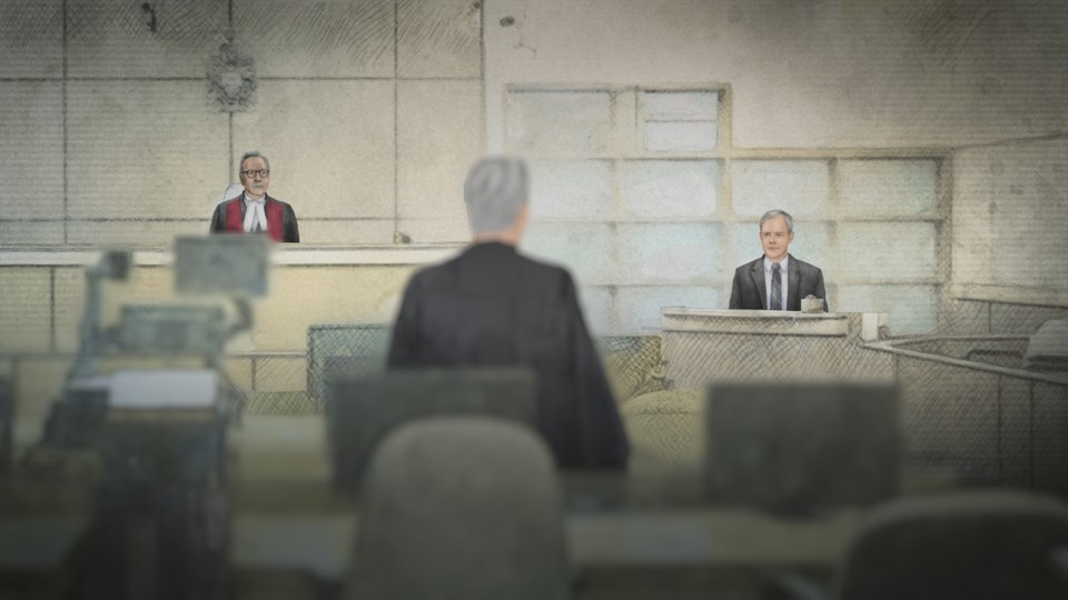 Dennis Oland takes the stand in this courtroom sketch. The Oland Murder airs March 4 at 9 p.m. on CB