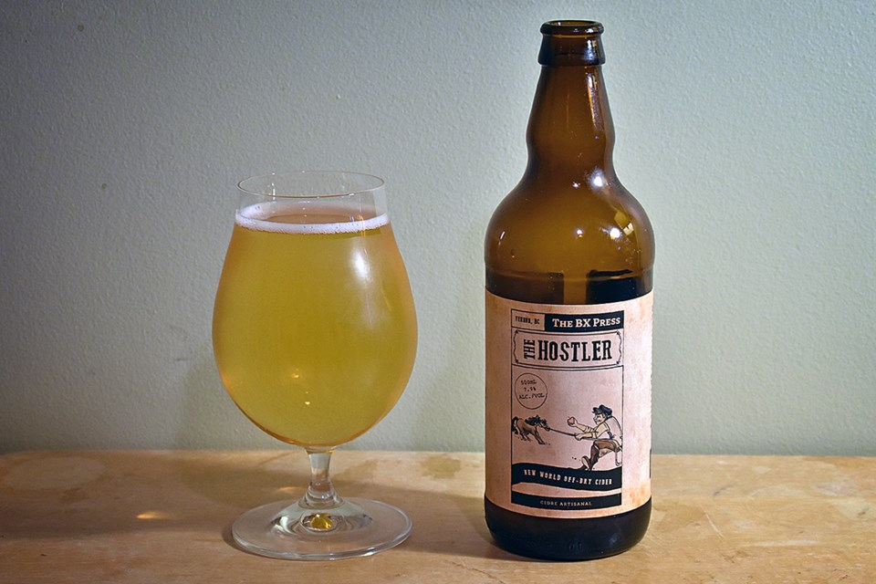 BX Press's Hostler is a new world off-dry cider made with dessert apples, resulting in a clean and r