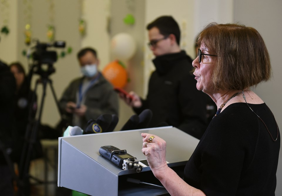 Cindi Banks VP at University Canada West, addresses the media at Thursday press conference regarding