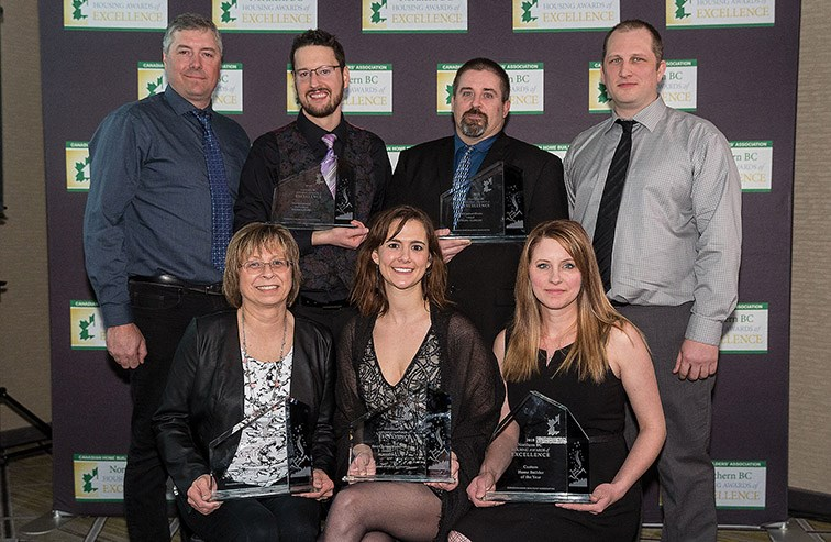 Citizen Photo by James Doyle. The team from Copper Falls Custom Homes poses for a photo with their awards from the Northern B.C. Housing Awards of Excellence ceremony on Saturday night at the Courtyard by Marriott ballroom.