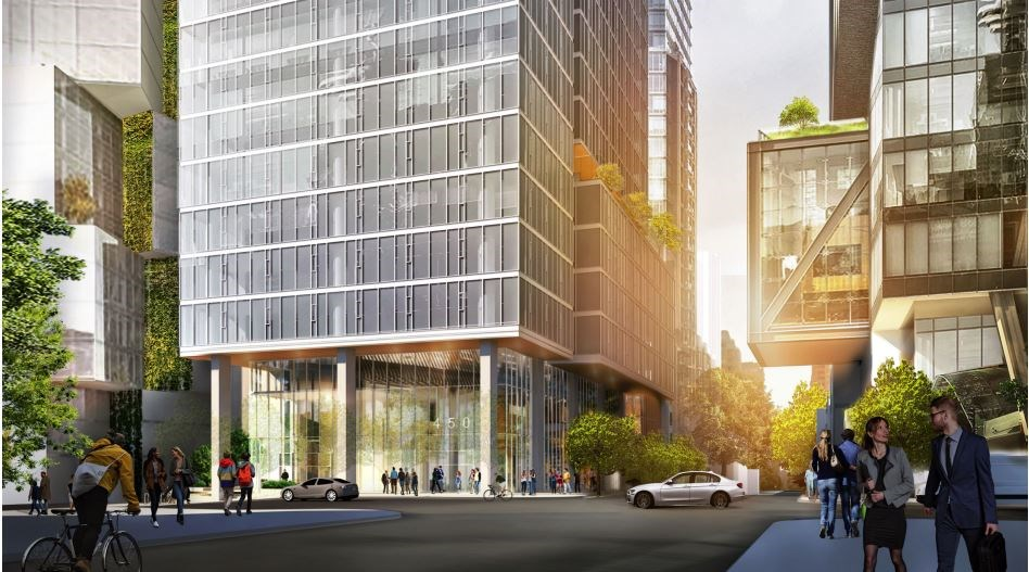 View from the north side of West Georgia Street. Rendering W.T. Leung Architects