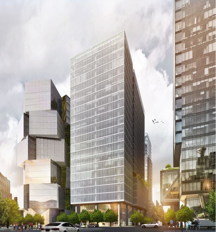 View West Georgia at Richards Street. Rendering W.T. Leung Architects