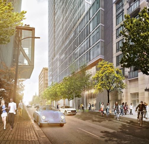View north on Richards Street from in front of L'Hermitage. Rendering W.T. Leung Architects