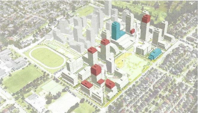 The preliminary proposal envisions converting two of the currently approved strata buildings (in blue) into rental buildings, with 25 per cent of the units geared to households earning between $30,000 and $80,000 a year. Onni then proposes increasing the height on other condo buildings on the property to offset the creation of the rental units. (Proposed increases shown in red.)