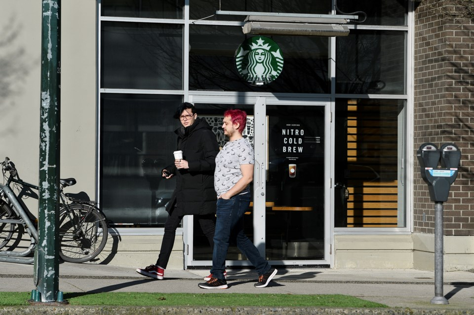 """Starbucks Canada's """"to go"""" only model will be complete by Wednesday across Canada. Photo Jennifer Ga"""