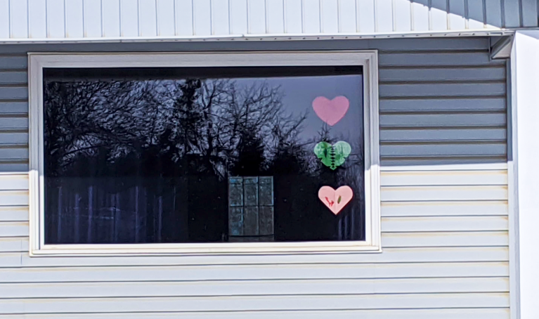 Families all over Fort St. John and Taylor have begun displaying hearts in their windows, just like the ones pictured here.