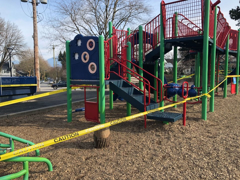 The Vancouver Park Board is using caution tape to keep people away from playground equipment. Photo