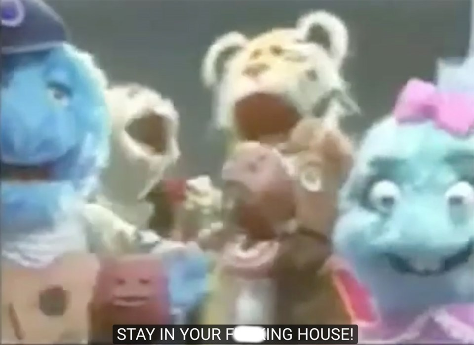 """Jeremy Brown and these puppets have an important message for in response to COVID-19: """"Stay in your"""