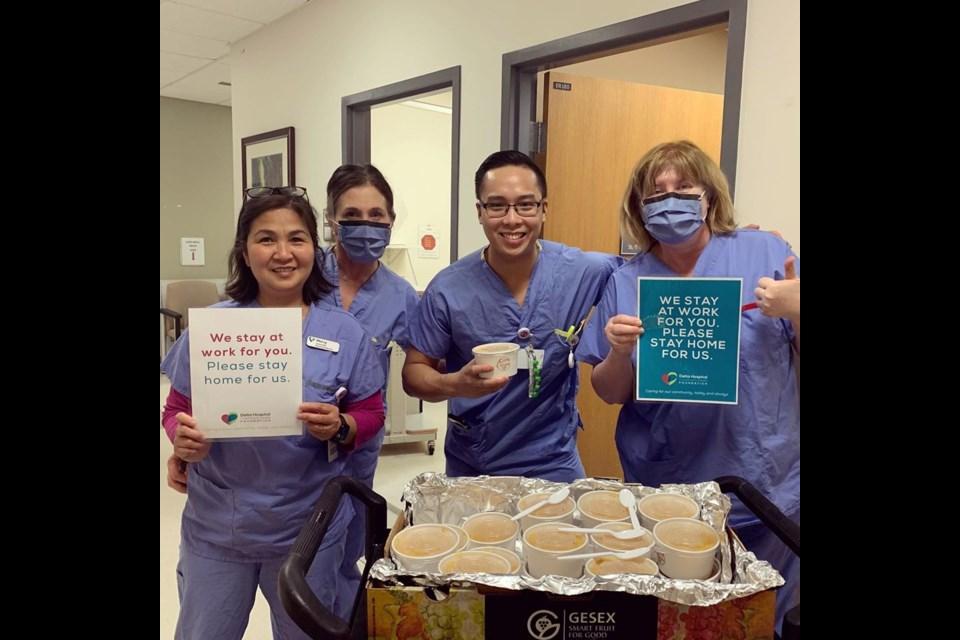 Lara Cuisine Cafe Bistro donated soups baklava to Delta Hospital staff.