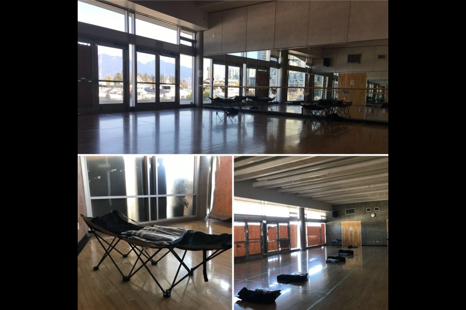 The Coal Harbour community centre is being used to accommodate people from a homeless shelter to protect them from contracting COVID-19. Images courtesy Shayne Ramsay/Twitter