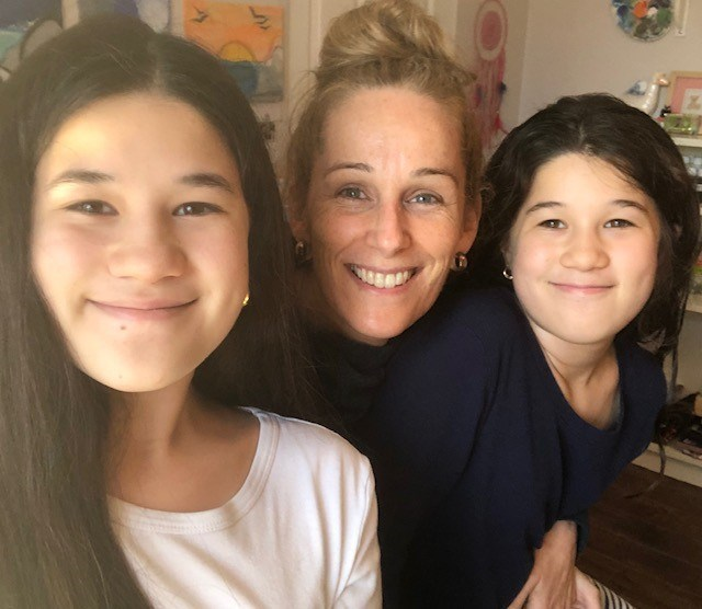 Sabine Yep, 47, and her two daughters, Lucia, 13 and Valentina,11. The Yeps, a family of four, were caught up in a country-wide COVID-19 lockdown in Peru, before travelling home on an emergency Air Canada flight.
