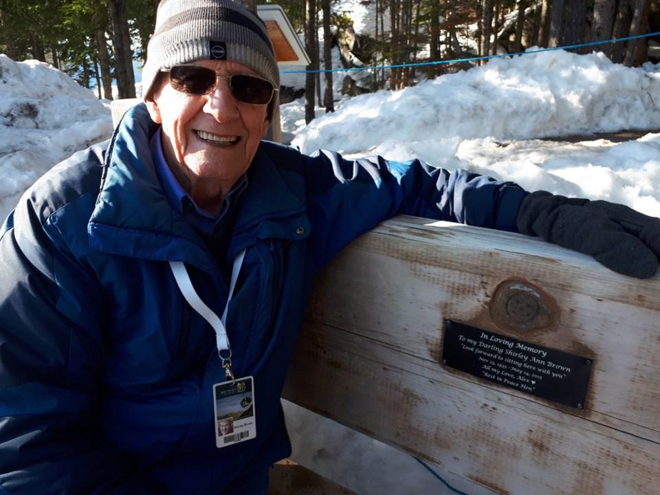 Alexander Dickson at the memorial bench.