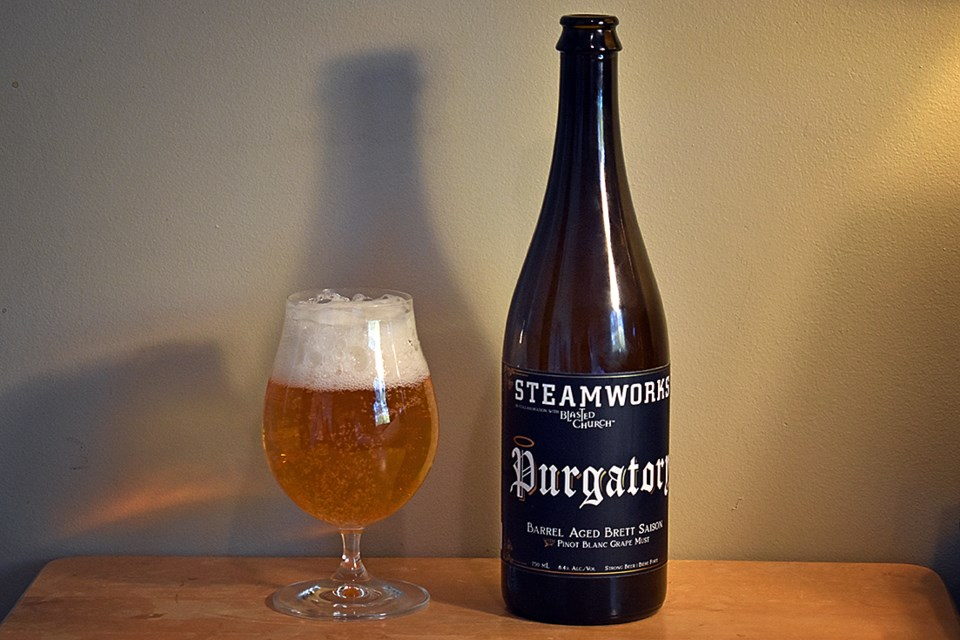 The very apropos Purgatory by Steamworks Brewing is a barrel-aged brett saison fermented with Pinot