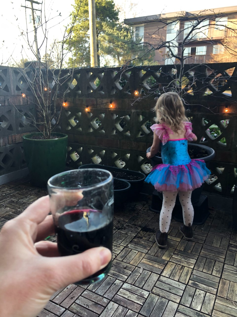 Jessica Kerr partakes/observes her daughter's patio activities. Photo Jessica Kerr