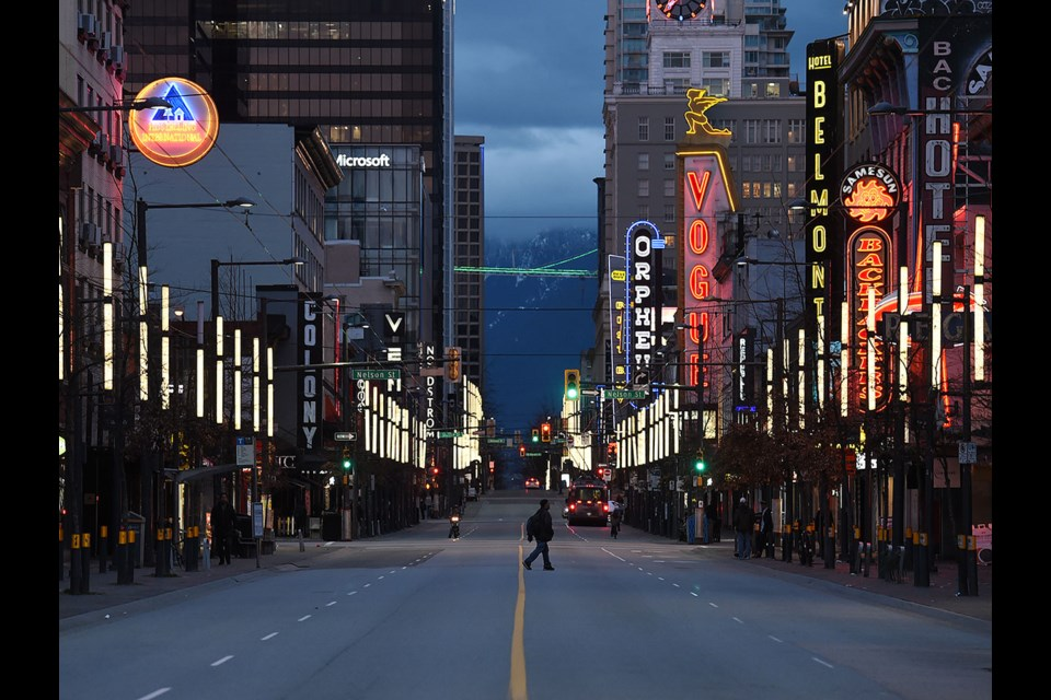 A near empty Granville Strip at night. Photo Dan Toulgoet
