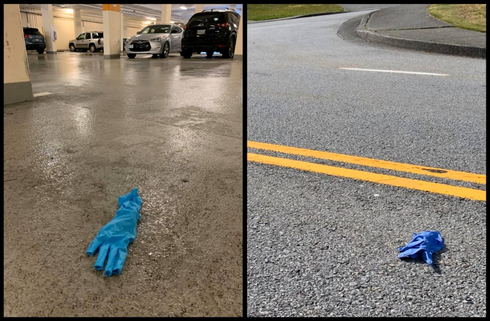 Coquitlam Mayor Richard Stewart posted to Facebook photos of discarded surgical gloves around the ci