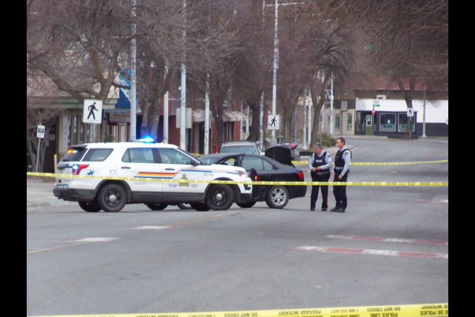Police cordoned off the 400-block of Tranquille Road on April 14 following a shooting.