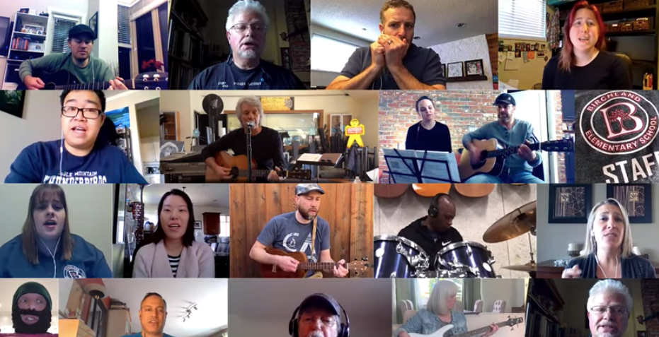 SD43 staff make up a verse and sing it for Jon Bon Jovi's challenge to share COVID-19 stories