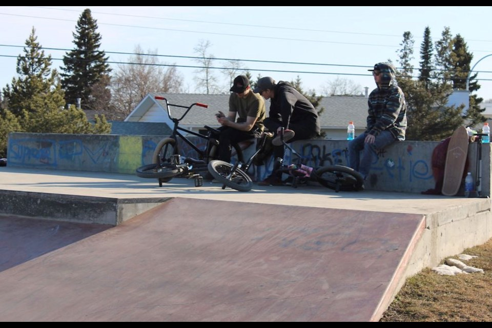 The skateboard park was busy on April 15, 2020. Though the city says parks and trails are not planned to be closed, the city says residents should still be practicing physical distancing.