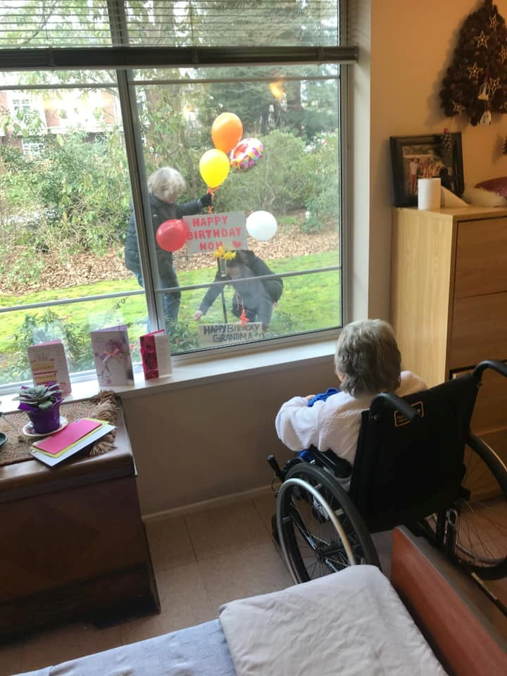 Loved ones wish a resident at the Shaughnessy Care Home happy birthday as she turns 99. The care hom